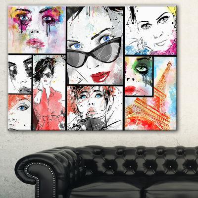 Designart Girls Collage Abstract Portrait Canvas Art Print