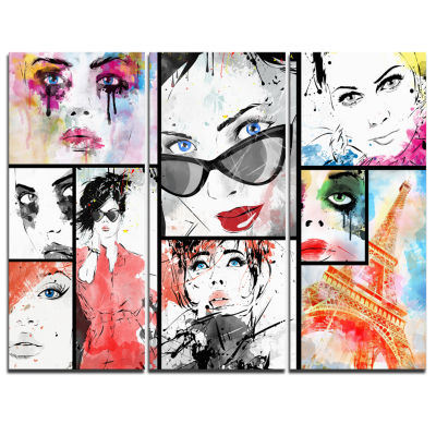 Designart Girls Collage Abstract Portrait Canvas Art Print - 3 Panels