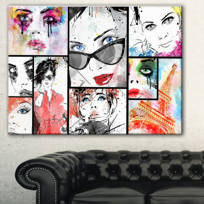 Designart Girls Collage Abstract Portrait CanvasArt Print - 3 Panels