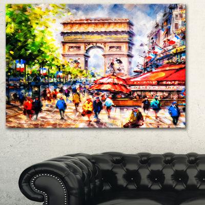 Designart Arc D Triomphe Paris Cityscape Canvas Print - 3 Panels