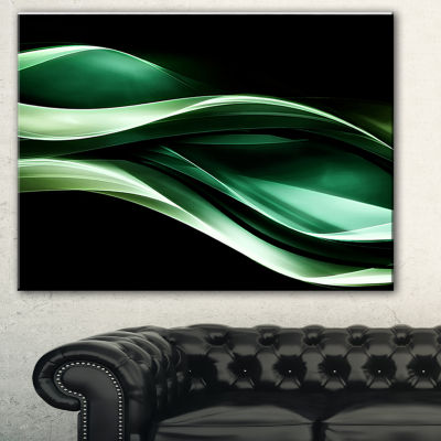 Designart Glittering Green Pattern Abstract CanvasArt Print - 3 Panels