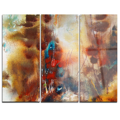 Designart Artistic Brown Abstract Canvas Artwork -3 Panels