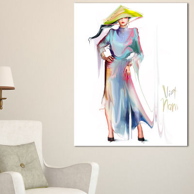 Designart Asian Women In Blue Dress Digital Art Portrait Canvas Print - 3 Panels