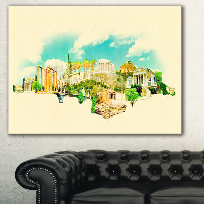 Designart Athens Panoramic View Cityscape Watercolor Canvas Print