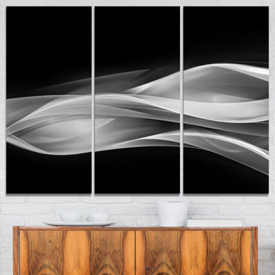 Designart Glittering Silver Pattern Abstract Canvas Art Print - 3 Panels