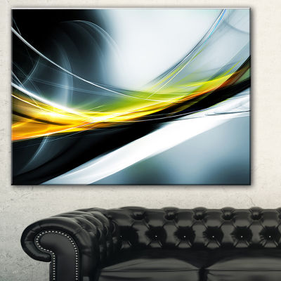 Design Art Glittering Yellow Pattern Abstract Canvas Art Print - 3 Panels