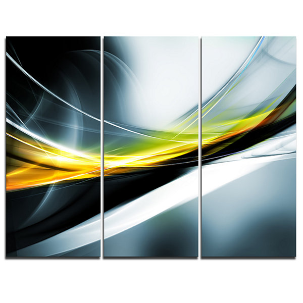 Designart Glittering Yellow Pattern Abstract Canvas Art Print - 3 Panels
