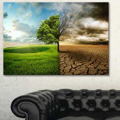 Designart Global Warming Landscape Canvas Art Print