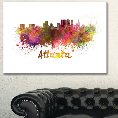 Designart Atlanta Skyline Cityscape Canvas ArtworkPrint
