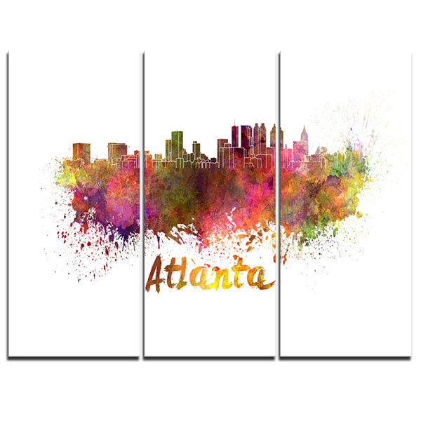 Designart Atlanta Skyline Cityscape Canvas ArtworkPrint - 3 Panels
