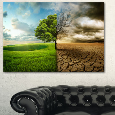 Designart Global Warming Landscape Canvas Art Print - 3 Panels