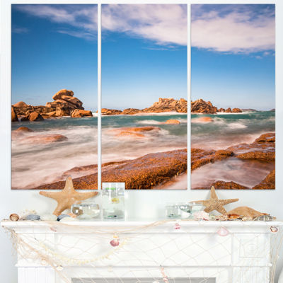 Designart Atlantic Ocean Cost In Brittany Photography Canvas Art Print - 3 Panels