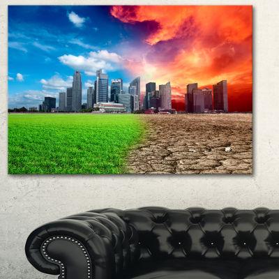 Designart Global Warming Large Landscape Canvas Art Print - 3 Panels