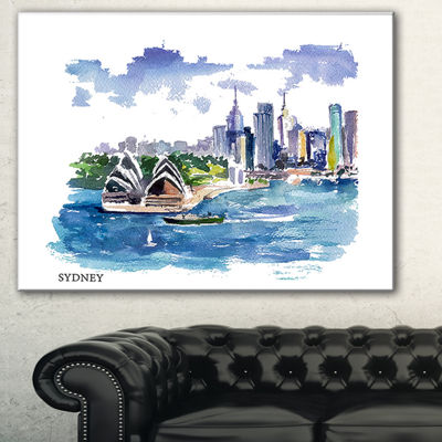 Designart Australia Vector Illustration CityscapePainting Canvas Print - 3 Panels
