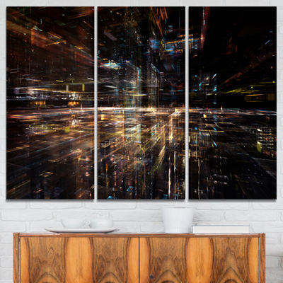 Designart Glow Of Technology Contemporary CanvasArt Print - 3 Panels