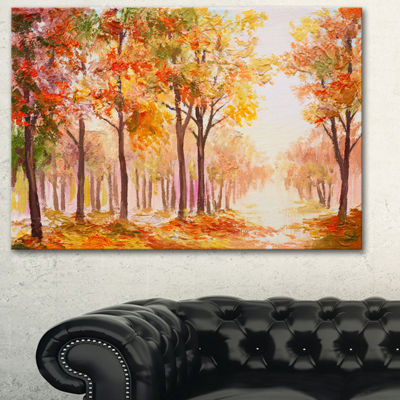 Designart Autumn Everywhere Forest Landscape ArtPrint Canvas