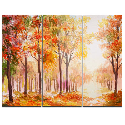 Designart Autumn Everywhere Forest Landscape ArtPrint Canvas - 3 Panels