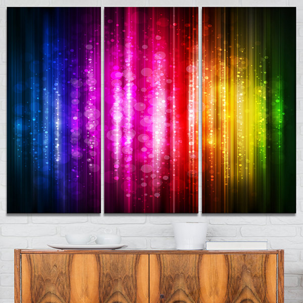 Designart Glowing Background Abstract Canvas Artwork - 3 Panels