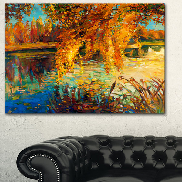 Designart Autumn Forest And Sky Landscape Art Print Canvas - 3 Panels