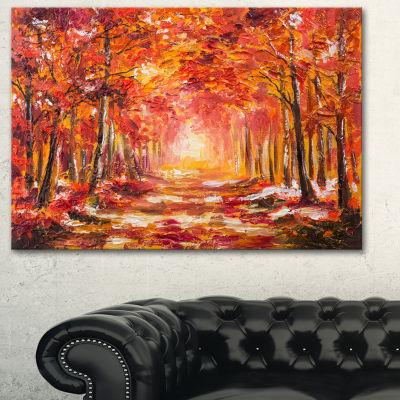 Designart Autumn Forest In Red Shade Landscape ArtPrint Canvas