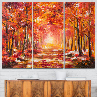 Designart Autumn Forest In Red Shade Landscape ArtPrint Canvas - 3 Panels