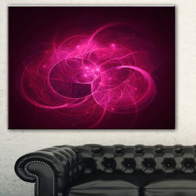 Designart Glowing Magenta Circles Abstract CanvasArt Print - 3 Panels