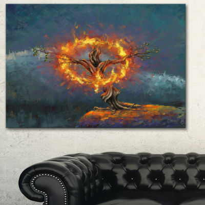 Designart God In The Burning Bush Landscape Art Print Canvas