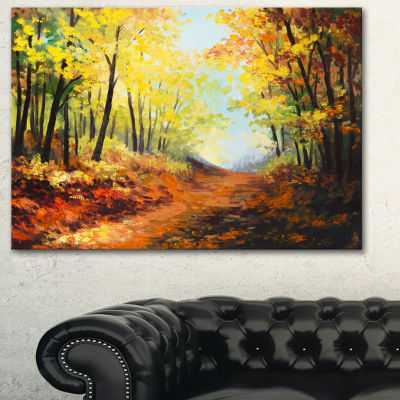 Designart Autumn Forest Pathway Landscape Art WallArt Print