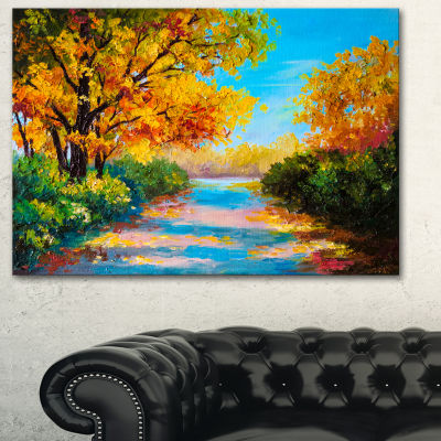Designart Autumn Forest With Colorful River Landscape Art Print Canvas