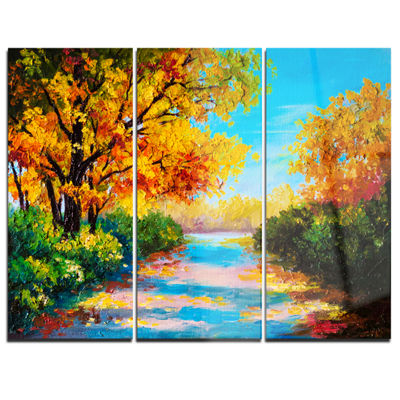 Designart Autumn Forest With Colorful River Landscape Art Print Canvas - 3 Panels