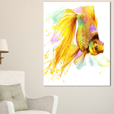 Designart Gold Fish Illustration Animal Art CanvasPrint - 3 Panels