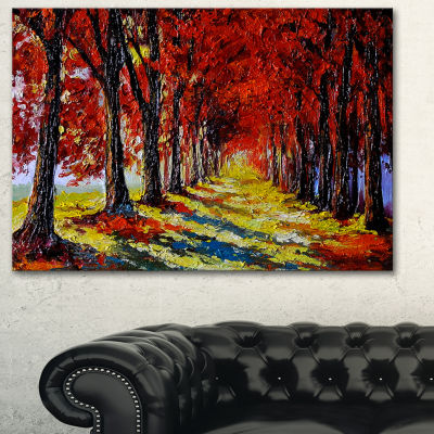 Designart Autumn Forest With Red Leaves LandscapeArt Print Canvas