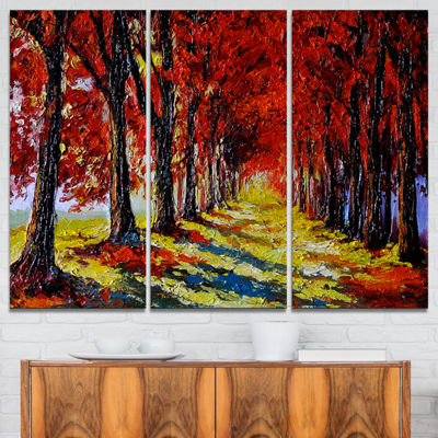 Designart Autumn Forest With Red Leaves LandscapeArt Print Canvas - 3 Panels