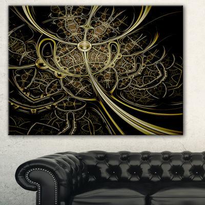 Designart Gold Metallic Fabric Pattern Abstract Print On Canvas - 3 Panels