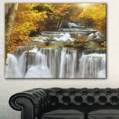 Designart Autumn Huai Mae Kamin Waterfall AbstractCanvas Artwork - 3 Panels