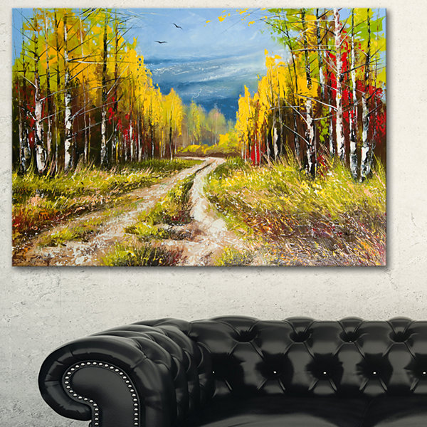 Designart Golden Autumn Landscape Art Print Canvas
