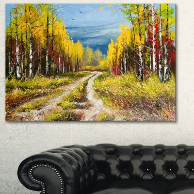 Designart Golden Autumn Landscape Art Print Canvas- 3 Panels