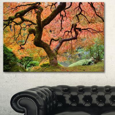 Designart Autumn Maple Tree Landscape PhotographyCanvas Art Print - 3 Panels