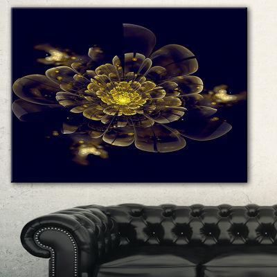 Designart Golden Metallic Fractal Flower AbstractPrint On Canvas - 3 Panels