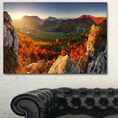 Designart Autumn Mountains Panorama Photography Canvas Art Print