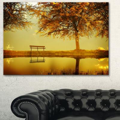 Design Art Golden Planet Landscape Photography Canvas Art Print - 3 Panels