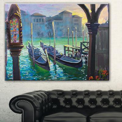 Designart Gondolas In Venice Landscape Painting Canvas Print - 3 Panels