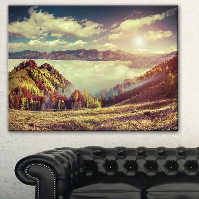 Designart Autumn Panorama Of Mountains PhotographyCanvas Art Print - 3 Panels