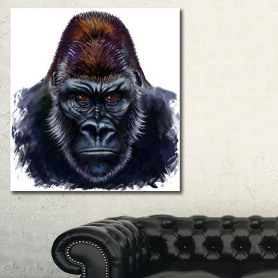Designart Gorilla Male Illustration Animal Art OnCanvas - 3 Panels