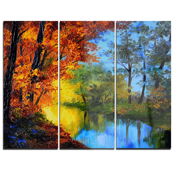 Designart Autumn Reflecting In River Landscape Artwork Canvas - 3 Panels