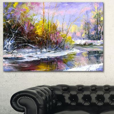 Designart Autumn River Landscape Art Print Canvas-3 Panels