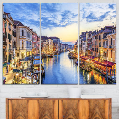 Designart Grand Canal Panorama Landscape Photography Canvas Print - 3 Panels