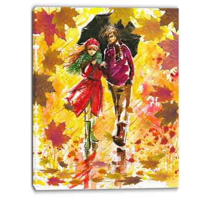 Designart Autumn Walk Of Couple Landscape Art Print Canvas