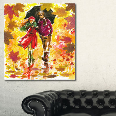 Designart Autumn Walk Of Couple Landscape Art Print Canvas - 3 Panels