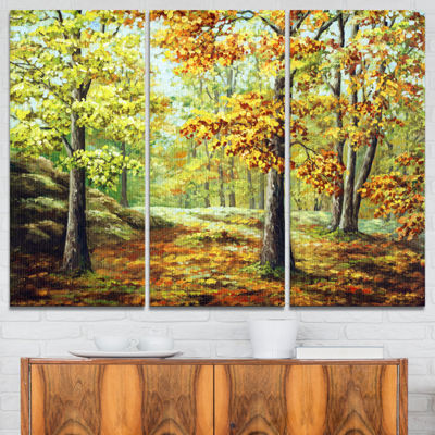 Designart Autumn Wood Landscape Art Print Canvas-3Panels